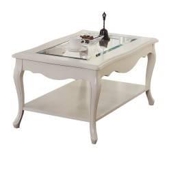 Mesa de centro retro con cristal, color: beige