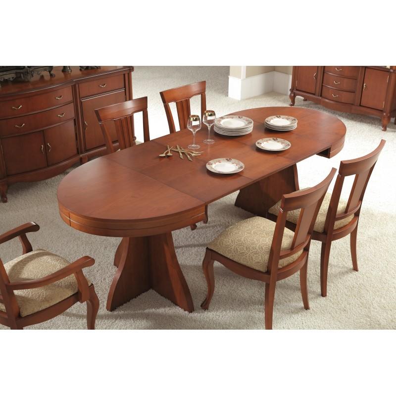 mesa de comedor extensible moderna color cerezo muambi