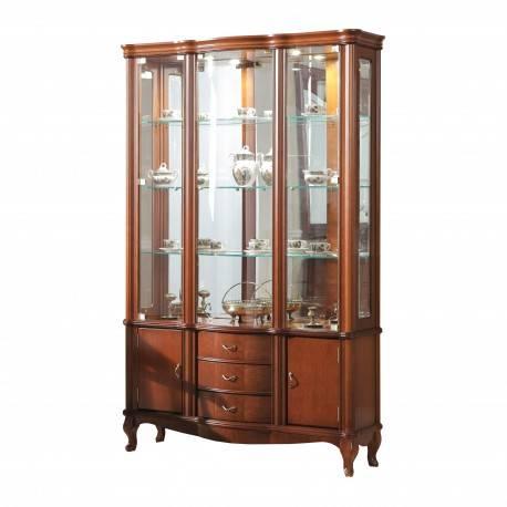 Vitrina clasica con leds, tres puertas y cajón, color: cerezo
