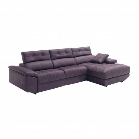 Sofá chaise longue tres plazas, color: violeta