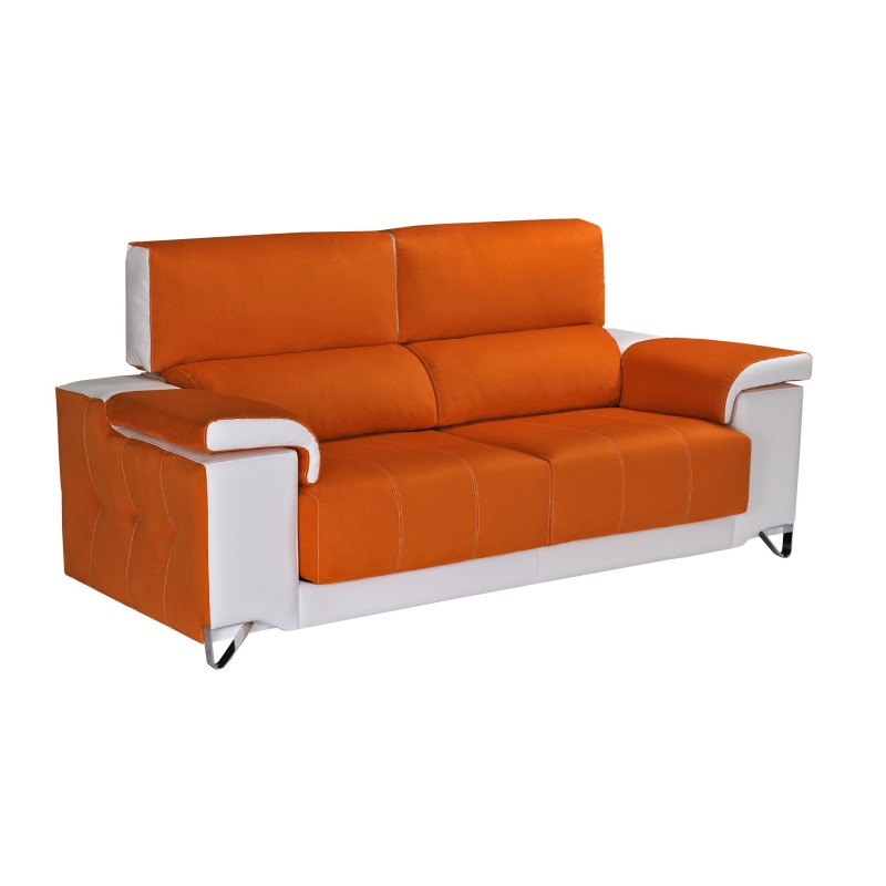 Sof 2 plazas color naranja blanco muambi for Sofa gran confort precios