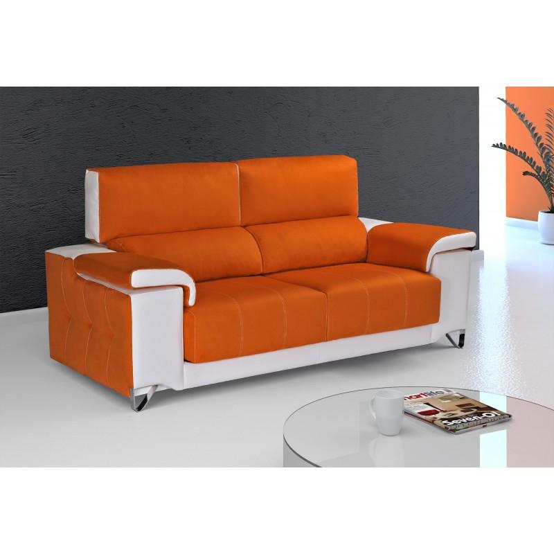 Sof 2 plazas color naranja blanco muambi for Sofa gran confort precios