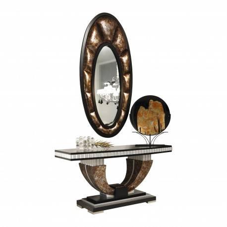 Recibidor exclusivo en piel con marco espejo, tapizado: Cerbero
