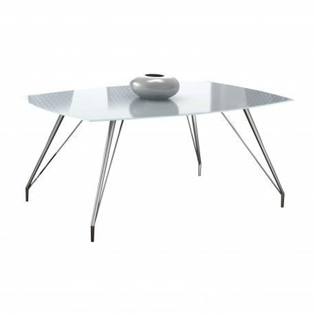 Mesa de comedor minimalista con cristal, color: cromado   Muambi
