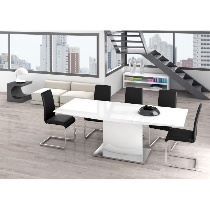 Mesa de comedor extensible minimalista color blanco muambi for Mesa comedor minimalista