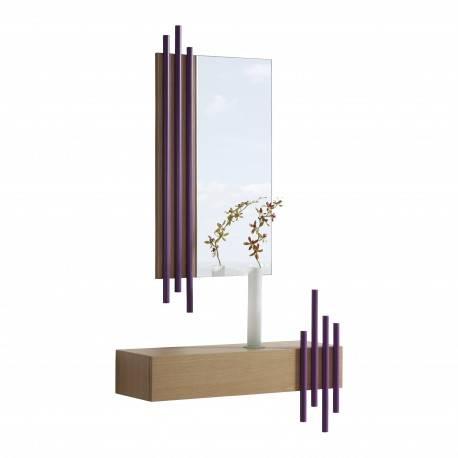 Recibidor moderno con marco espejo, color: roble nórdico - magenta