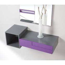 Recibidor minimalista con marco espejo, color: cinza - magenta