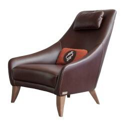 Sillón retro tapizado cuero, color: chocolate