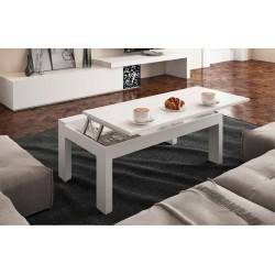 Mesa centro elevable moderna, color: blanco
