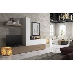 Composición de salón minimalista, color: blanco - visón - ambar