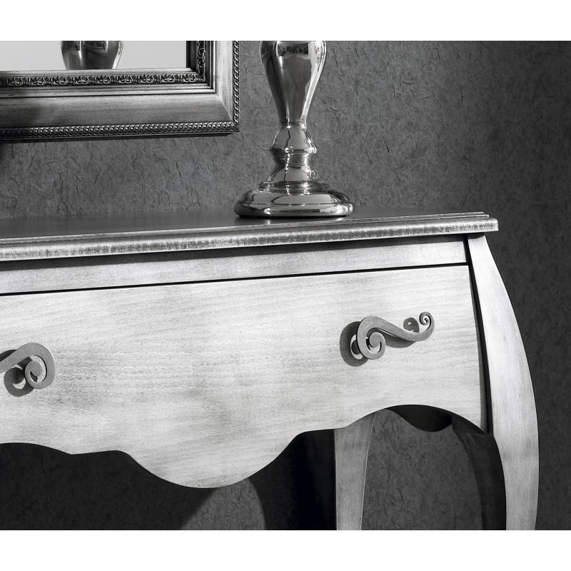 Recibidor retro con caj n y espejo plata envejecida muambi for Espejos con marco color plata