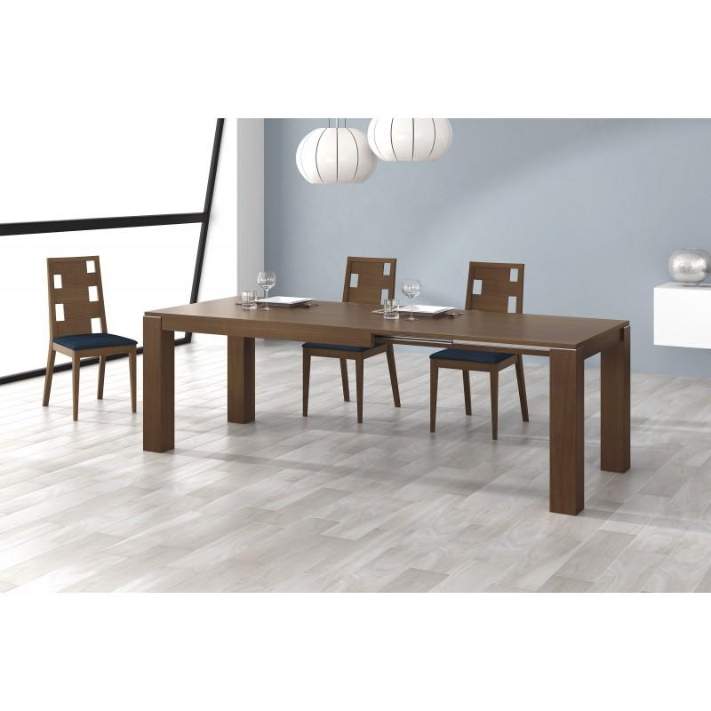 Mesa de comedor extensible moderna color nogal muambi for Mesa comedor nogal