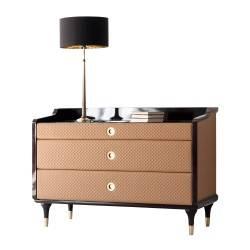 Cómoda moderna tapizada, color: marrón y oro