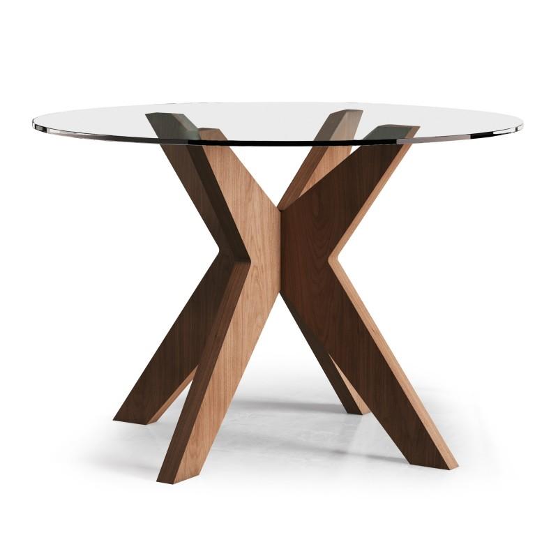 Mesa de comedor moderna con tapa de cristal color nogal for Mesa moderna