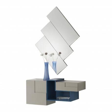 Recibidor moderno con espejo giratorio, color: safari - azul