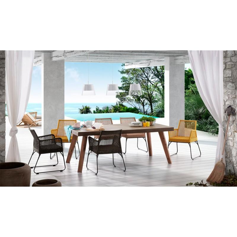 Mesa de comedor madera maciza color gris muambi - Mesas comedor madera maciza ...