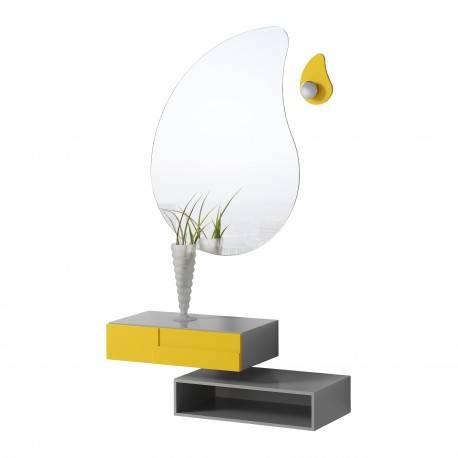 Recibidor moderno con espejo giratorio, color: siena - naranja claro