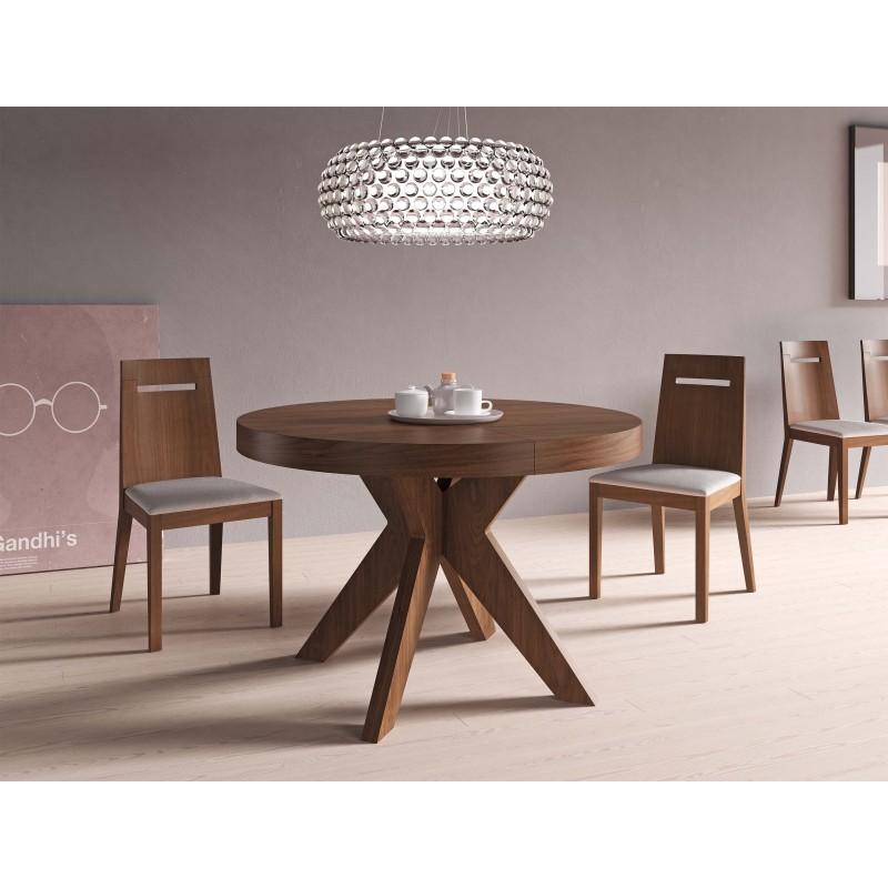 Mesa de comedor moderna con tapa de cristal color nogal for Las mejores mesas de comedor