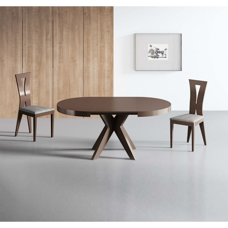 Mesa de comedor moderna con tapa de cristal color nogal muambi - Mesa comedor nogal ...