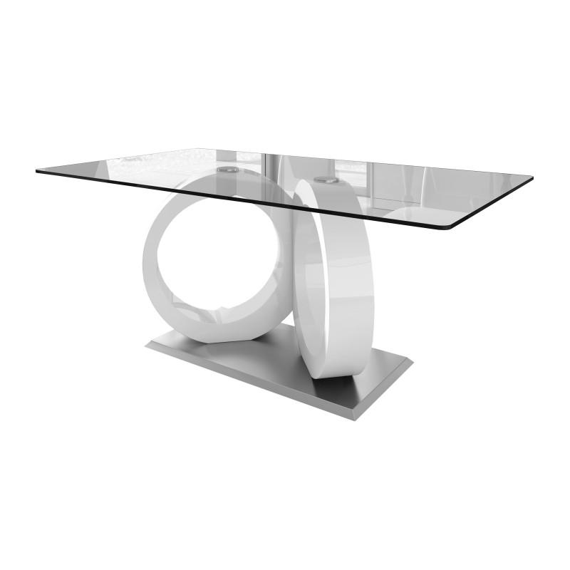 Mesa de comedor minimalista con cristal color blanco for Mesa comedor cristal 200 cm