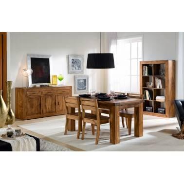 Mesa extensible rústica, acabado: teñido y encerado