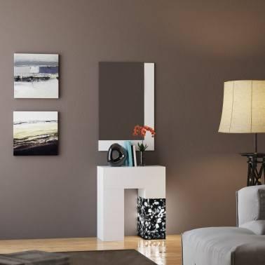 Recibidor moderno con espejo, color: blanco - negro