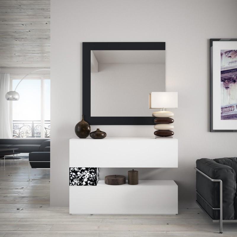 Recibidor moderno con espejo color blanco negro muambi - Espejo recibidor moderno ...