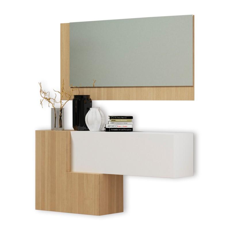 Recibidor moderno con espejo color blanco roble claro for Espejo recibidor blanco
