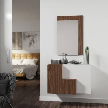 Recibidor moderno con espejo, color: blanco - roble