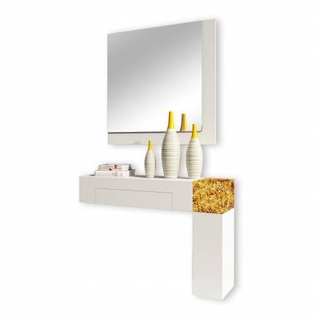 Recibidor moderno con espejo, color: blanco - oro
