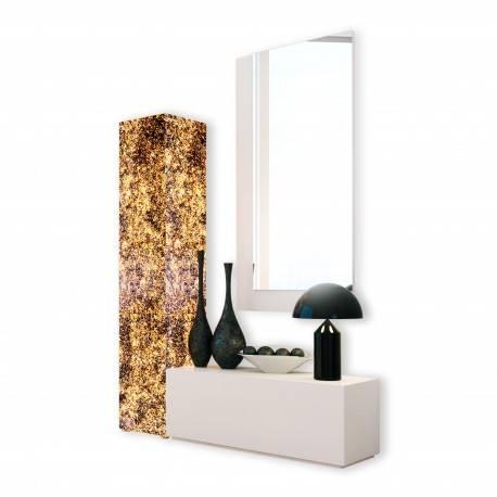 Recibidor moderno con columna y espejo, color: blanco - oro