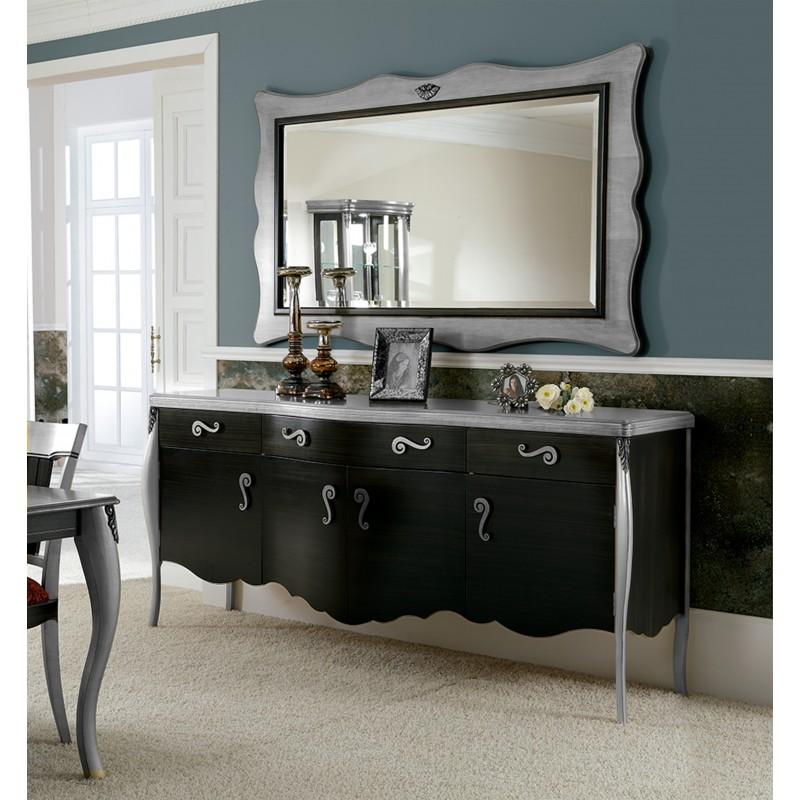 Aparador retro con marco espejo color negro plata muambi for Espejos con marco color plata
