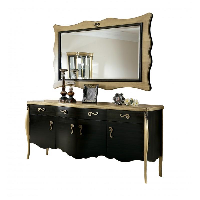 Aparador retro con marco espejo color negro plata muambi for Espejo marco wengue