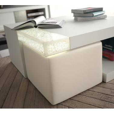 Mesa de centro con puffs, 90x90x45cm, color: blanco - masintex