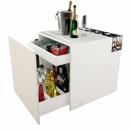 Mueble bar basilea, color: blanco - negro