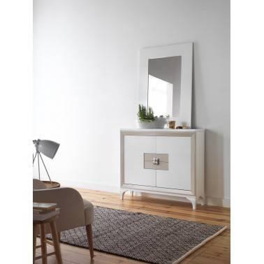 Recibidor con espejo estilo retro, color: blanco - visón