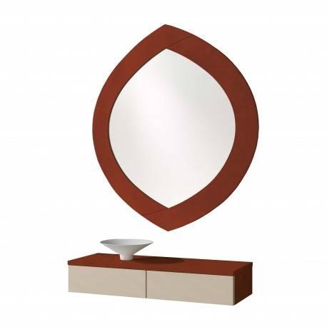 Recibidor moderno con espejo, color: capuchino-cerezo