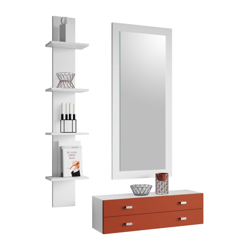 Recibidor moderno con espejo y estanter a color blanco for Espejo recibidor blanco