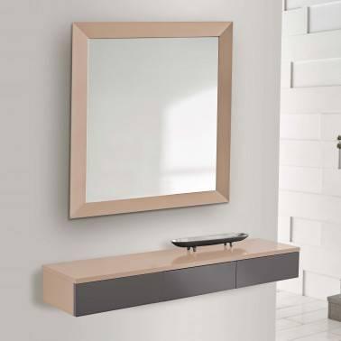 Recibidor moderno con espejo, color: almendra-plomo