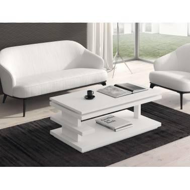 Mesa de centro moderna elevable, color: blanco