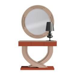 Recibidor moderno con espejo, color: almendra-teja