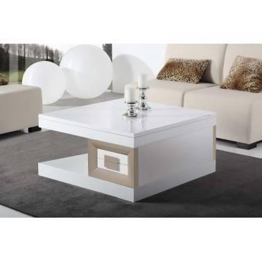 Mesa de centro moderna elevable, 2 cajones, color: blanco - moka
