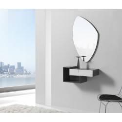 Recibidor moderno con espejo giratorio, color: cinza - blanco