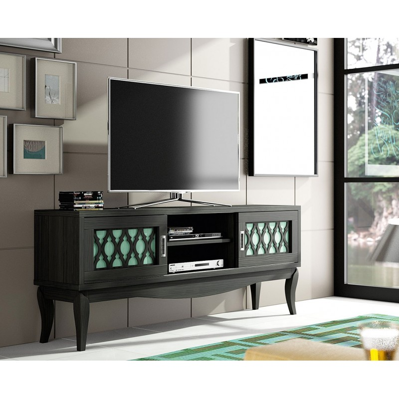 Mueble tv basilea color negro verde muambi for Mueble tv negro