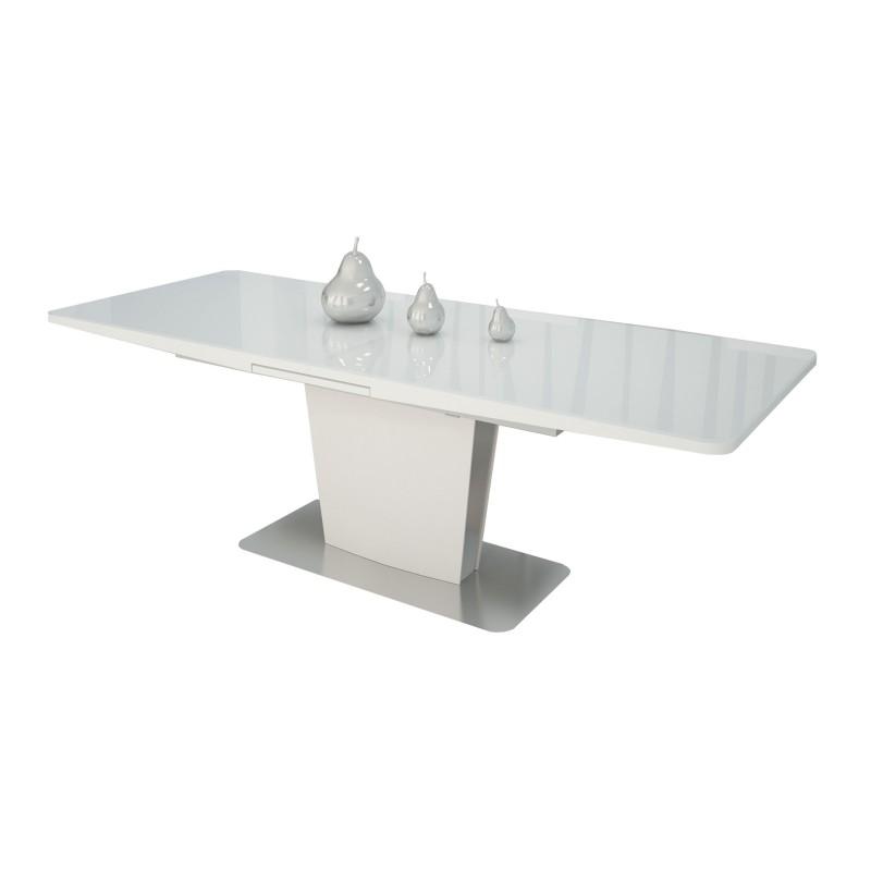 Mesa de comedor extensible moderna con cristal blanco muambi for Mesa extensible moderna