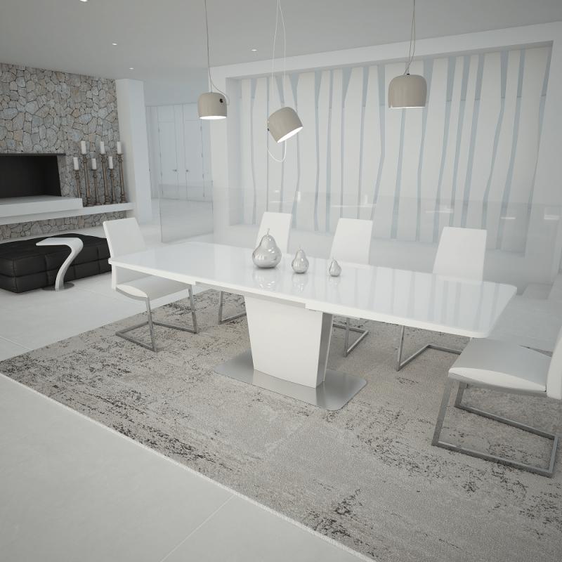 Mesa de comedor extensible moderna con cristal blanco muambi for Mesas de comedor de cristal extensibles