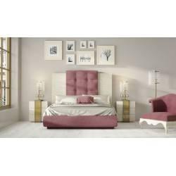 COMPOSICIÓN: Dormitorio de matrimonio, color: blanco - oro, tapizado: rosa