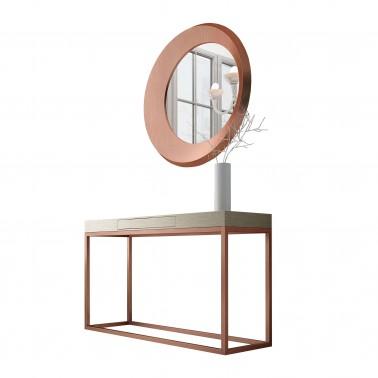 Recibidor moderno con marco espejo roble y cobre