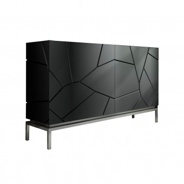 Aparador moderno 2 puertas, color: negro