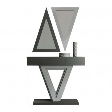 Recibidor moderno con dos espejos: Grafito-Plata